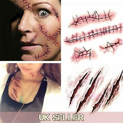 Halloween Terror Wound Realistic Blood Injury Temporary Tattoo scar /-T19-/