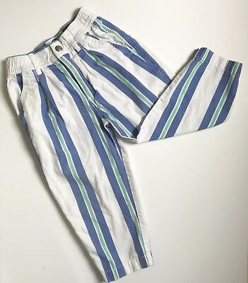 Vintage 80s Baggy Straight Leg Retro Pants White Blue Green Hammer Pants Ono 3T