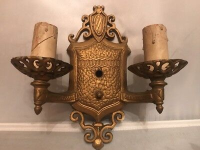 Antique Art Deco Cast Metal Single Double Arm Electric Wall Sconce Light Fixture