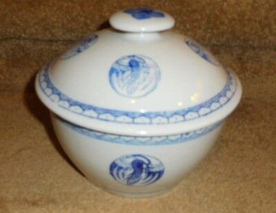 Vintage Asian Cobalt Blue & White Porcelain Covered Rice Bowl Tureen W/cranes