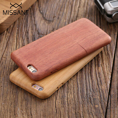 MISSANT Retro Natural Wood Bamboo Case w/ Button for Apple iPhone 6 6S 7 8 Plus