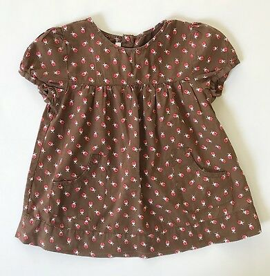 H&M Toddler Blouse Pockets Brown Red Ladybugs Vintage Hippy 5T