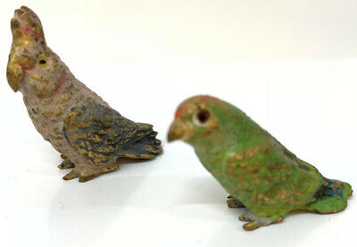 Antique Vintage Cold Painted Bronze Austrian Parrots 2 Birds Pair