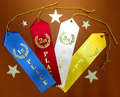 1st 2nd 3rd & 4th PLACE Award - QUALITY- Ribbons w/Card & String 2x8 FAST SHIP