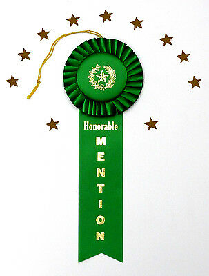 HONORABLE MENTION DeLuxe Rosette BEST Quality Award Ribbon 3.5Wx10L FAST SHIP!