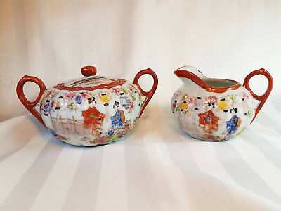 Vintage Japanese Geisha Floral Hand Painted Porcelain Creamer & Sugar With Lid