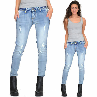 New Womens Light Blue Faded Slim Skinny Stretch Ripped Frayed Distressed Jeans
