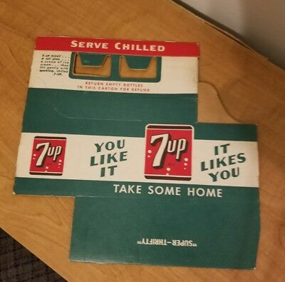 50s ACL Soda 1950s bottle CARTON CARRIER 7-UP seven up empire box super thrifty