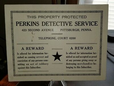Vintage 1950s Pittsburgh Pa Perkins Detective Service Sign