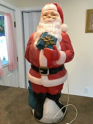 santa claus with present lighted blow mold yard decoration christmas - Lighted Plastic Christmas Yard Decorations