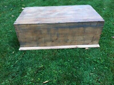 Vintage Pine trunk coffer box 1950s chest    coffee table, dove tail joints