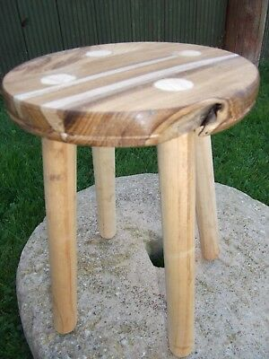 Hardwood Milking Stool. Hand made. for decoration. Plant stand. Reclaimed wood