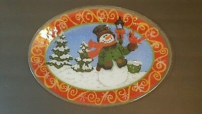 Peggy Karr Glass Snowman Cardinal Holiday Large Oval Serving Platter 17.5 Inch
