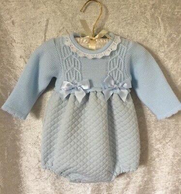 Boys Long Sleeve Pale Blue Romper Spanish Romper Age 12M Wool Quilted Freepost