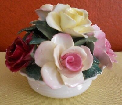 "Crown Staffordshire Bone China Rose Bouquet Bowl 4.5"" W x 3.5"" H 1801 Handcrafte"