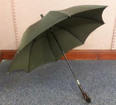Vintage Christian Dior Umbrella With Silver Collar And Nylon Printed Canopy