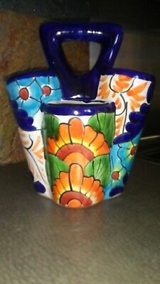 "Vibrant Utensil Holder, Made in Mexico, Talavera Ceramic Pottery Folk ART 11""H"