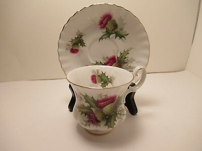 "Royal Albert English China Demitasse  Tea Cup&Saucer ""Highland Thistle"" Exc Cond"