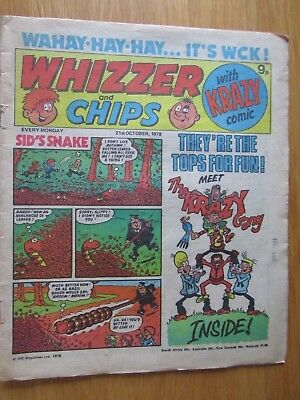 WHIZZER & CHIPS COMIC 21st October 1978. Novel 40th Birthday Present!