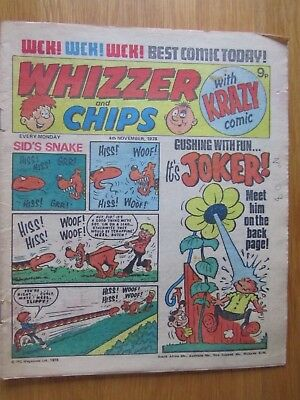 WHIZZER & CHIPS COMIC 4th November 1978. Novel 40th Birthday Present!