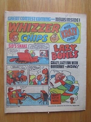 WHIZZER & CHIPS COMIC 25th November 1978. Novel 40th Birthday Present!
