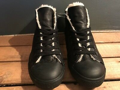 7d801dfa476b CONVERSE ALL STAR Dainty Mid Black Leather With Faux Fur Lining New ...