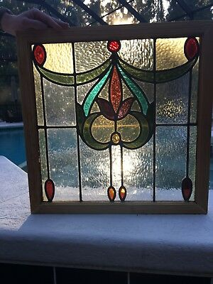 Antique English Stained Glass Window  -  Floral Pattern, Colorful, 21 inches sq