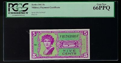 Series 541 Military Payment Certificate 5 Cents  PCGS 66 PPQ