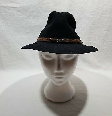 Black Bobby Lee Hat Royal Size 7 Genuine Fur Felt Feather & Strap