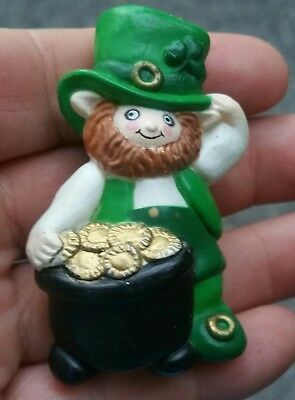 Vintage Hard Plastic Leprechaun with a Pot of Gold St Patrick's Day Pin brooch