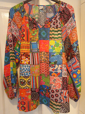 1ba7614be17 Cotton Traders Tunic Top Blouse Ethnic Patchwork size 22 Multi coloured  Brights
