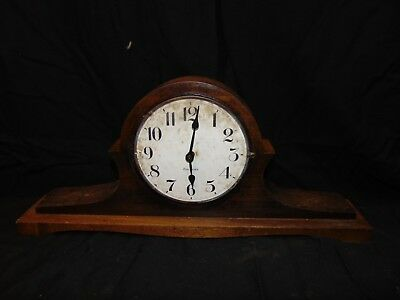 "vintage Gilbert Mantle wind up Clock with key in it USA 18"" x 3"" x 8"" wood"