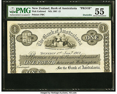 New Zealand Bank of Australasia £1 1 Pound 1901 Pick UNL Dunedin Proof