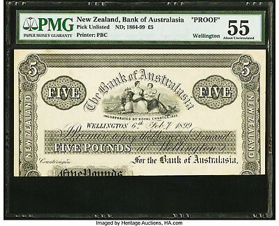 New Zealand Bank of Australasia £5 5 Pounds 1899 Pick UNL Wellington Proof