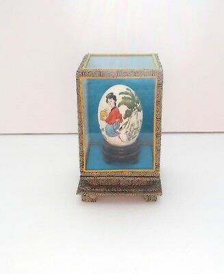 Vintage Asian Hand Painted Chicken Egg with Glass Display Case Signed