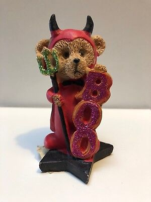 Vintage Bear Figurine Red Devil With Horns and Pitchfork BOO