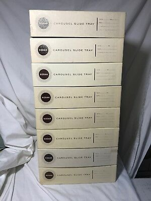 Lot (8) Kodak Carousel 80 Slide Trays w/ Boxes (Excellent) Fits 4400 Projector