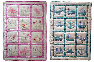 Traditional Handmade Cot Quilt or Play Mat & Carry Case Baby Boy/Girl  Pink/Blue