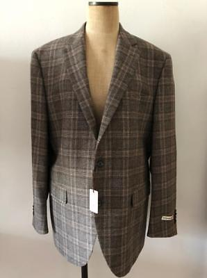 Peter Millar 44L NWT $995 Flynn lightweight Wool Sport Coat Brown Plaid Blazer
