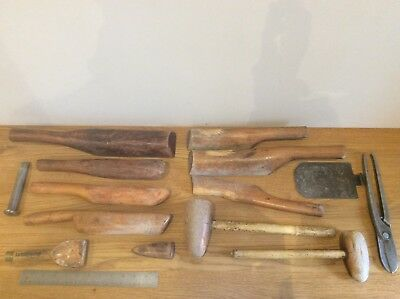 BUNDLE OF VINTAGE WOODEN BOSSING ROOFER MALLET HAMMER TOOLs  Etc