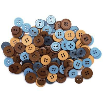 130pcs Assorted Bulk Blue/Brown/Tan Round Buttons Lot Craft Sewing Scrapbook