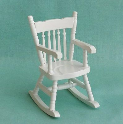 1/12th scale Dolls House Miniature White Rocking Chair