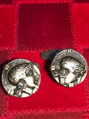 Antique 800 Silver Cuff Links Greek Warrior Soldier Falcon Seleucid