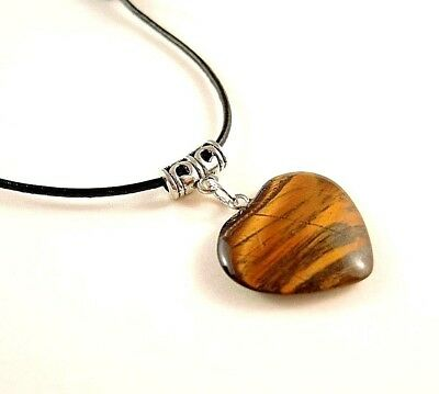 Tigers Eye Heart Gemstone Pendant with Adjustable Black Leather Necklace # 378