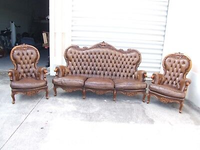 1890's Italian Rococo style Brown Tufted Leather Sofa and 2 Armchair Set