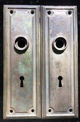 (2) Match Art Deco Vtg Skeleton Key DOORknob PLATE Backplate Escutcheon Rosette