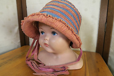 1920s  CHILDS * BLUE STAW HAT w/ PINK VELVET CLOCHE * Adorable! Ruching