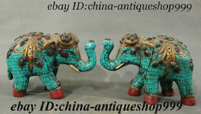 Old Chinese Purple Bronze Inlay Turquoise Gem Elephant God Heffalump Statue Pair