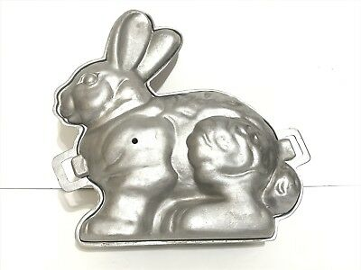 Antique CAST ALUMINUM Easter Bunny RABBIT Mold Metal Cake Chocolate Baking large