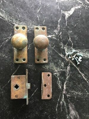 Antique Vtg Brass Door Knob Set Small Nautical Boat Ship Cabin Hardware Salvage